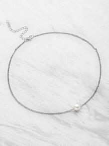 Collier chaîne avec perles faux