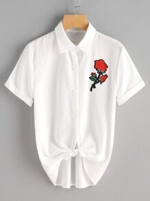 Rose Embroidered Patch Self Tie Front Cuffed Blouse