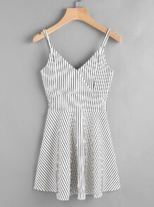 Striped Wrap Front Zip Back Cami Dress