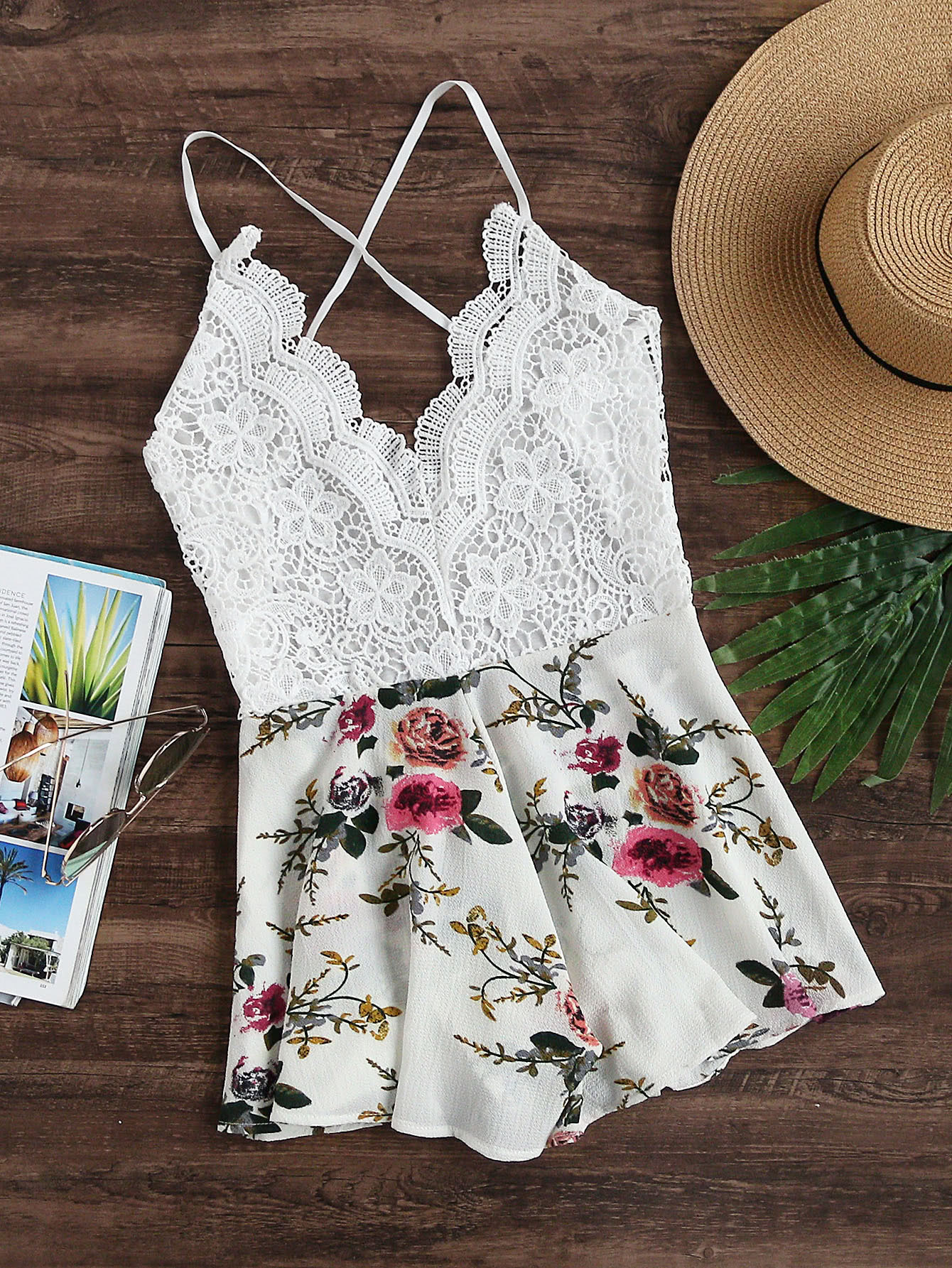 Floral Print Lace Paneled Criss Cross Backless Romper