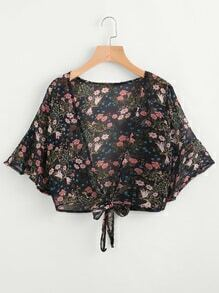 Calico Print Random Self Tie Open Front Top