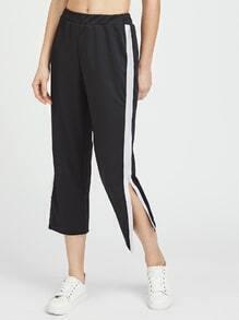 Pantalones capri de lado de rayas con cremallera