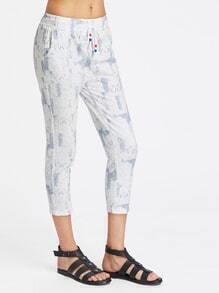 Pantalones fruncido capri de cintura con cordón con estampado de pintada