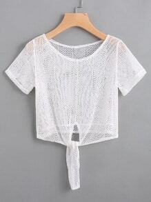 Self Tie Front Hollow Out Lace Top
