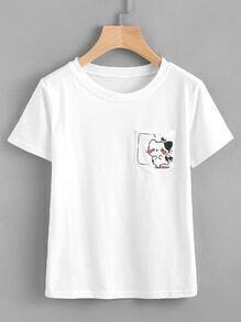 Camiseta estampada de gato con bolsillo