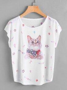Camiseta estampada de gato de manga murciélago
