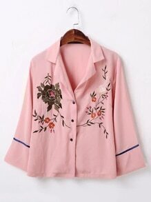 Bell Sleeve Flower Embroidered Blouse