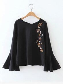 Bell Sleeve Embroidered Knot Back Blouse