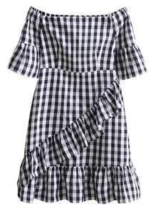 Boat Neckline Checkerboard Frill Trim Dress