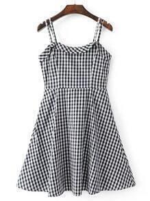 Checkerboard Strappy A Line Dress