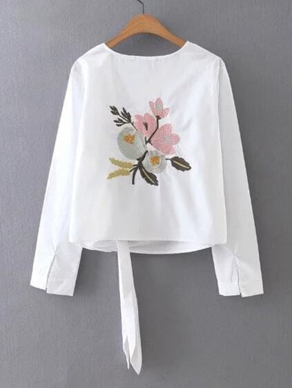 Flower Embroidered Knot Back Top