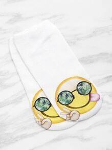 Socquette invisible mignone imprimé du emoji