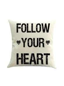 Funda de almohada con estampado de corazón