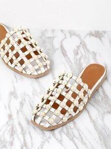 Sandales creux avec des perles artificielles