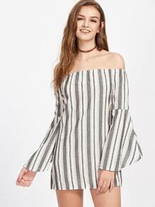 Bardot Striped Bell Sleeve Dress