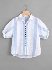 Blusa de manga farol contraste de rayas