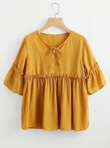 Frill Trim Smock Blouse