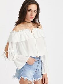 Flounce Layered Neckline Split Sleeve Tie Detail Top