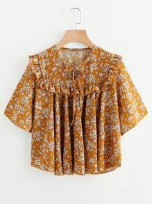 Calico Print Frill Trim Smock Blouse