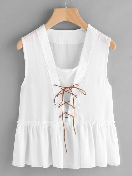Lace Up Frill Trim Smock Top
