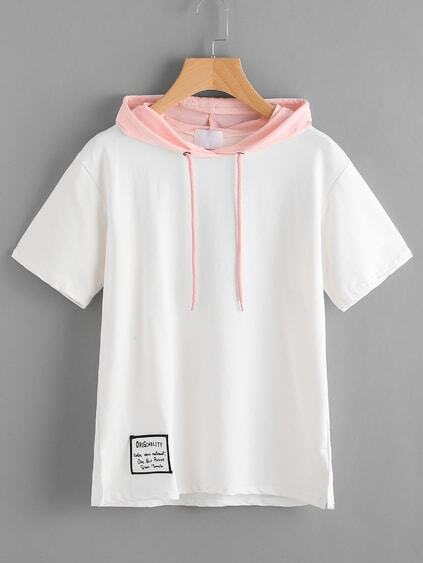 Contrast Hooded Patch Slit Side Tshirt