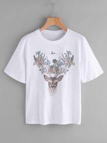Camiseta con estampado de reno y flor