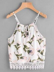 Top de tirante de encaje de espalda con abertura con estampado floral