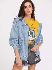 Drop Shoulder Boyfriend Denim Jacket With Badge Detail