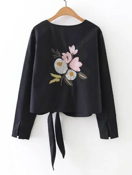 Knot Front Flower Embroidery Top