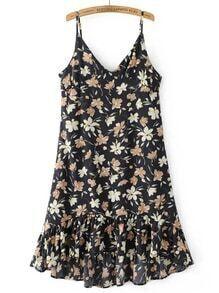 Vestido de tirante fruncido con estampado floral