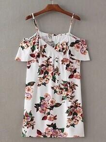 Vestido de hombros descubiertos con estampado floral