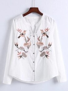 V-Cut Embroidered Blouse