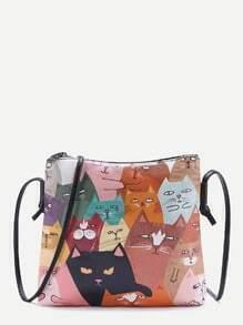 Cat Print Pocket Back PU Shoulder Bag