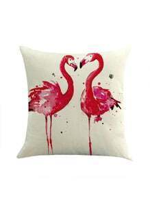 Funda de almohada con estampado de pareja flamingo en contraste