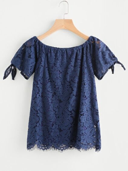Scalloped Hem Tie Cuffs Lace Blouse