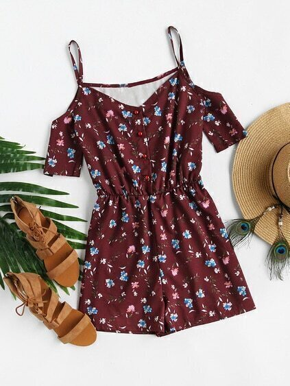 Open Shoulder Ditsy Print Random Single Breasted Romper
