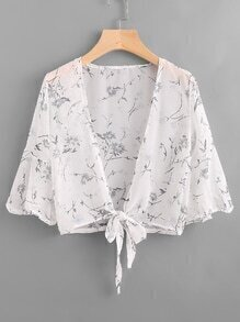 Trumpet Floral Print Knot Open Front Top