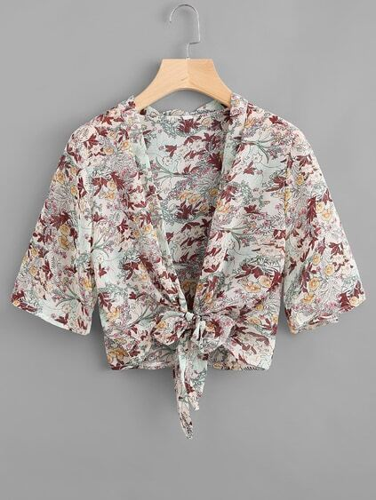Calico Print Self Tie Front Open Front Top