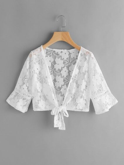 Self Tie Open Front Lace Top