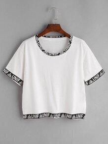 Camiseta contraste con estampado de letras