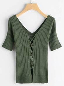 Camiseta de canalé con cordón