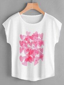 Camiseta con estampado de corazón de manga murciélago