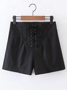 Shorts con cremallera lateral con ojal con cordón