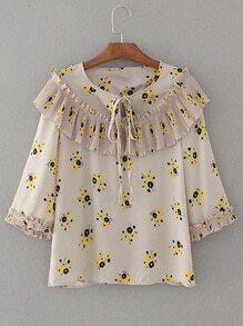 Blusa con estampado floral fruncido de cuello con cordón