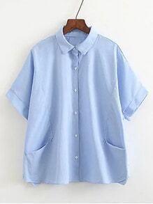 Blusa de manga de codo con bolsillos