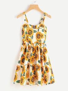 Sunflower Print Swing Dress