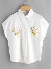 3D Flower Embellished Shirt