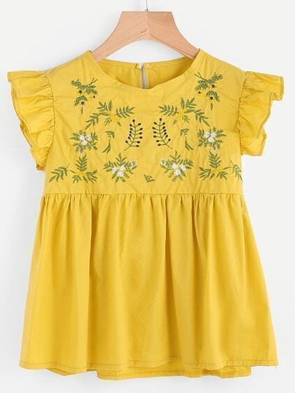 Embroidery Ruffle Sleeve Smock Blouse