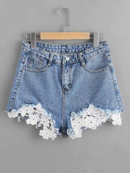 Contrast Crochet Frayed Hem Denim Shorts