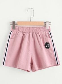 Tape Side Shorts With Badge
